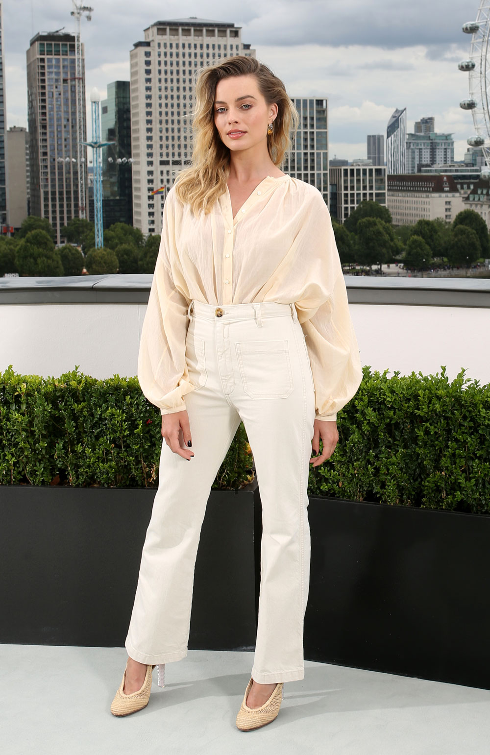 Margot Robbie in more low-key flares