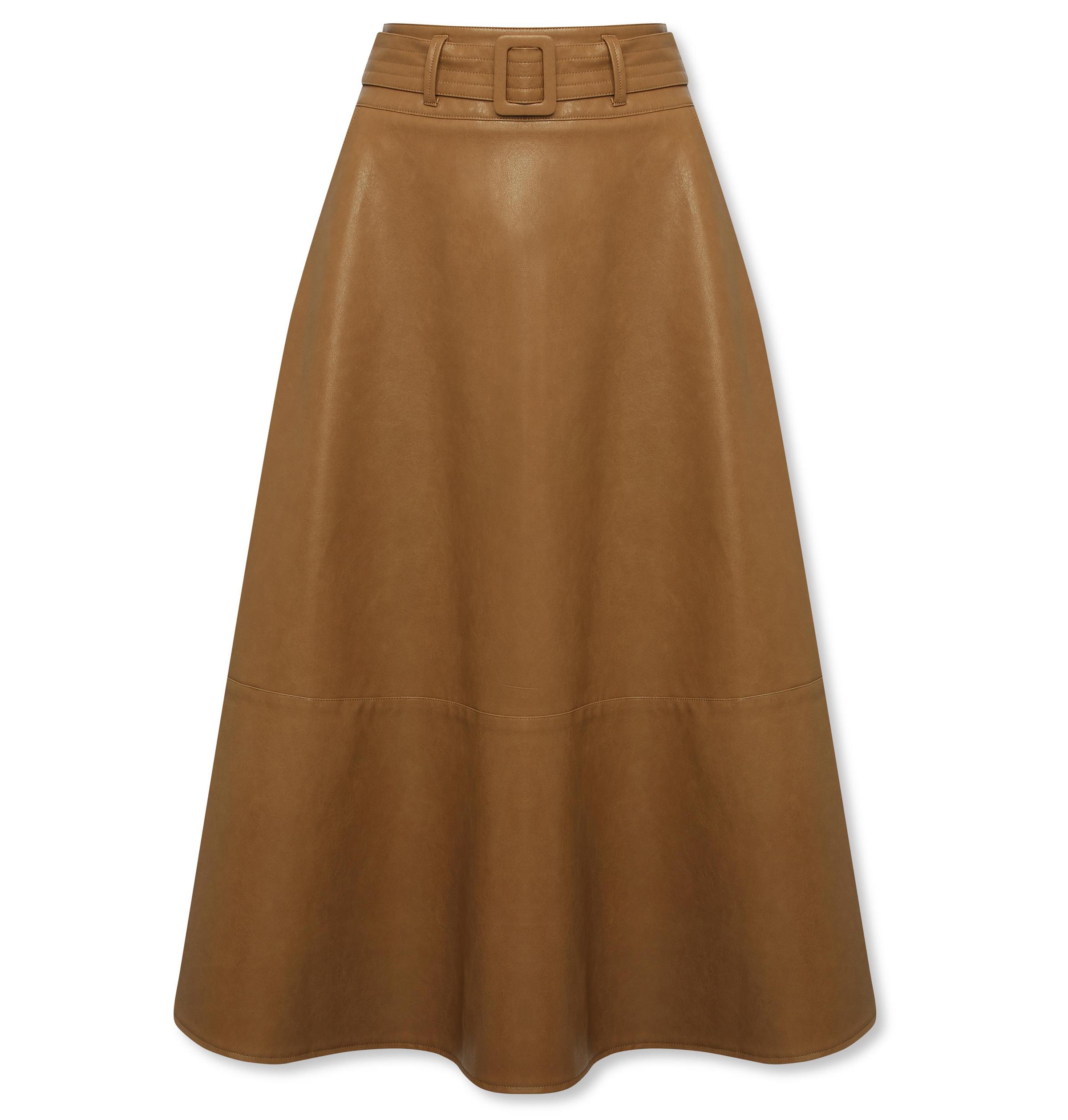 Sonder Studio Tan PU Midi Skirt