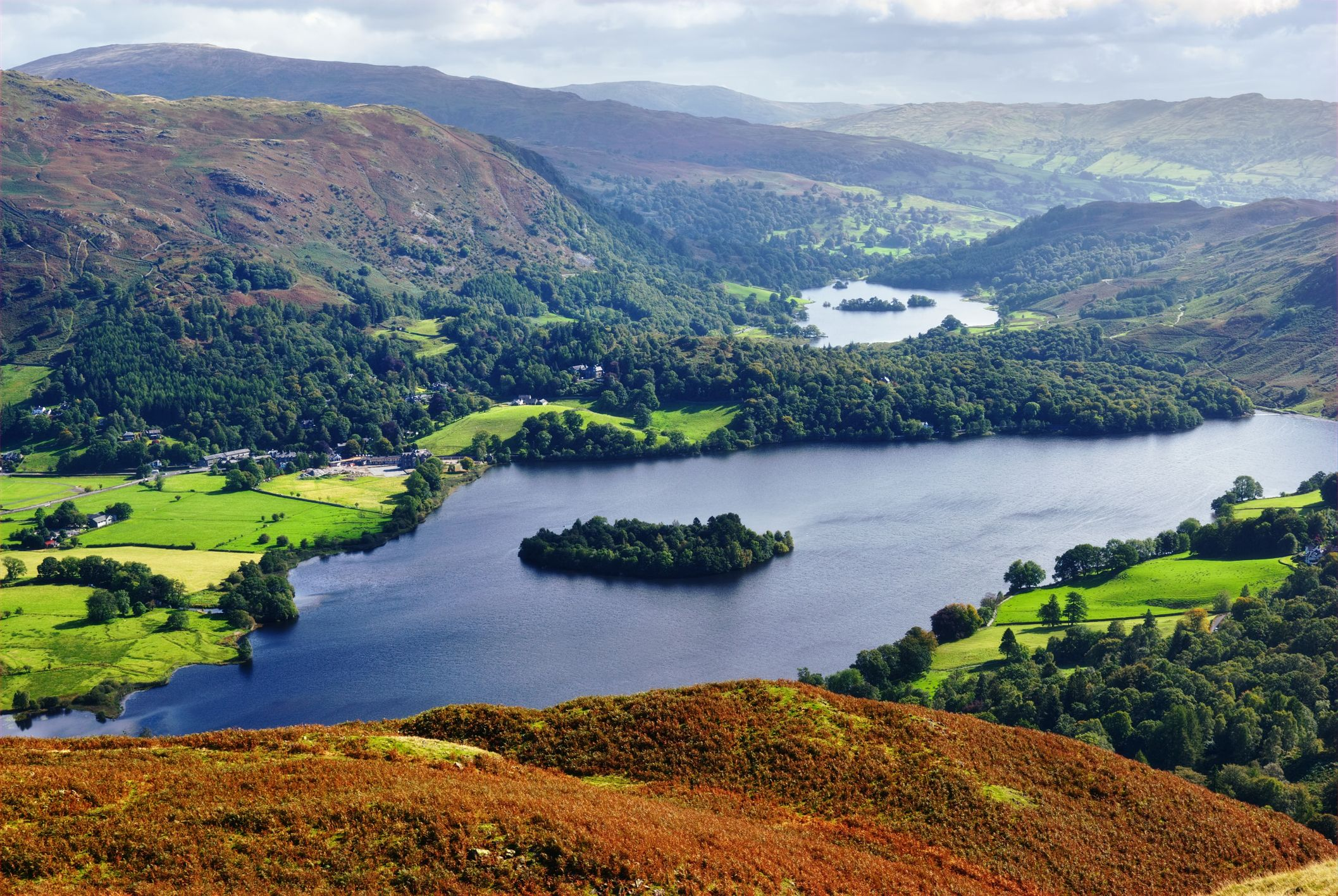 An aerial view of Grasmere from the slopes of Silver How