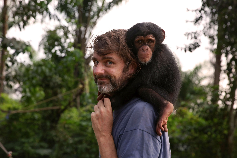 Jimmy Desmond with chimp Ella