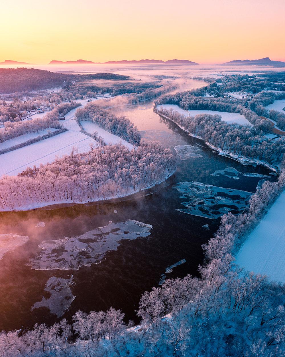 'Sunrise at -5°F' by @jamiemalcolmbrown – Hatfield, Massachusetts