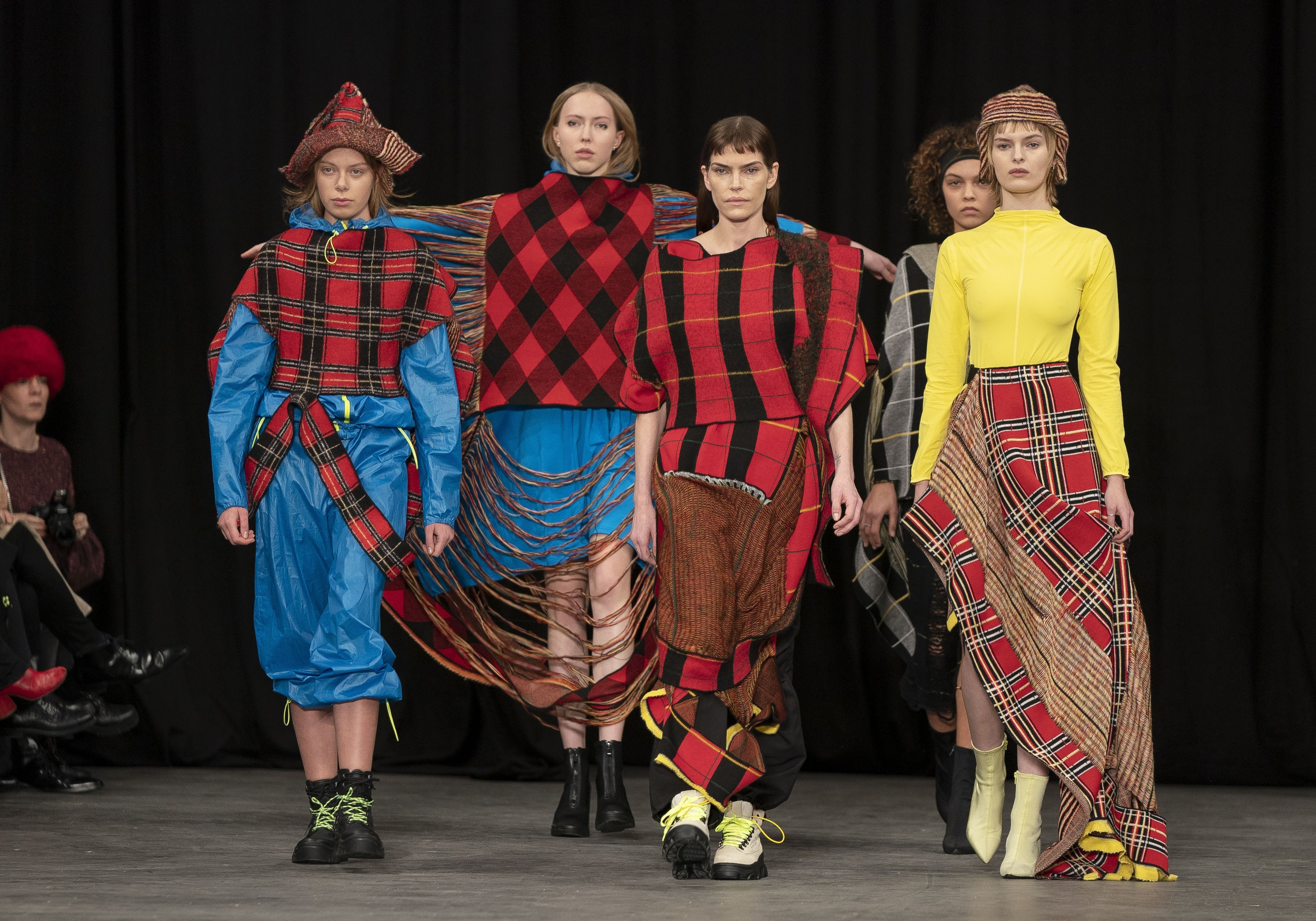 Models on the catwalk during the first day of Copenhagen Fashion Week