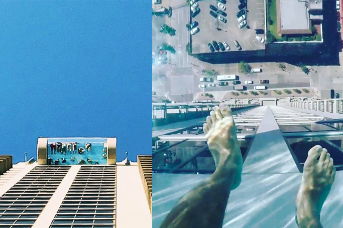 Pool On Top Of Building : This pool on top of a building has glass bottom the