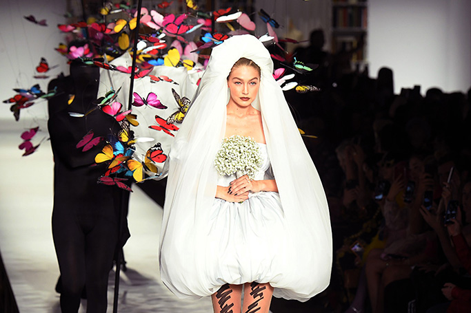 Gigi Hadid Bridal Look for Moschino SS19 at MFW