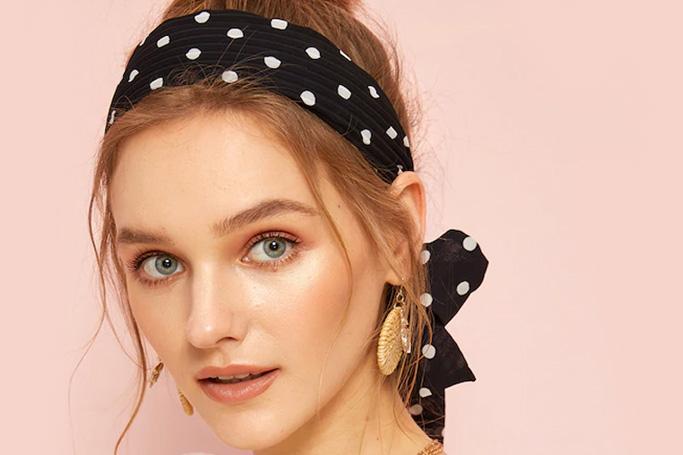 Polka dot print self-tie headband on SHEIN