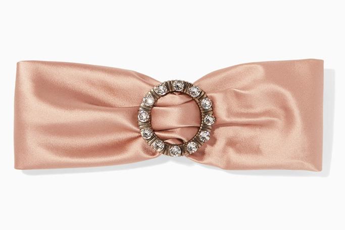 Miu Miu blush crystal-brooch silk headband on Ounass