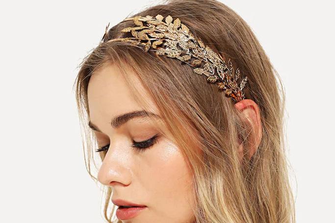 Metal leaf headband on SHEIN