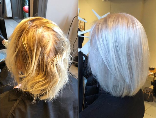 Transformation to icy blonde