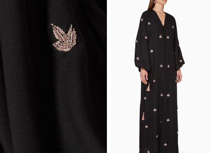 Luna & Sol Leaf-Embroidered Abaya