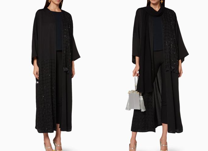 Elna Line Black Embellished Front Abaya