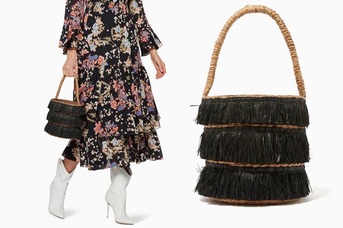 Kayu Black Fringed Mini Lolita Bucket Bag