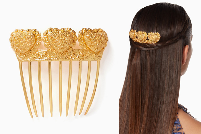VALÉRE Gold Sacred Heart Hair Comb