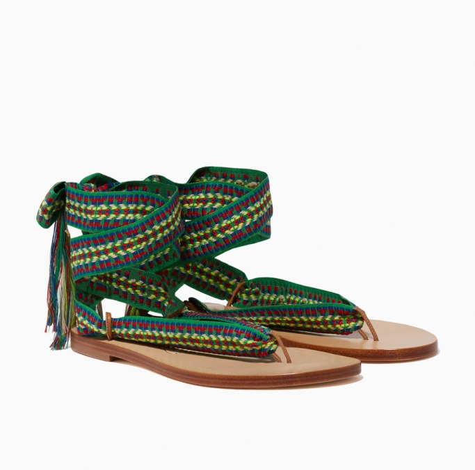 Nupié Green Spetses Embroidered Sandals