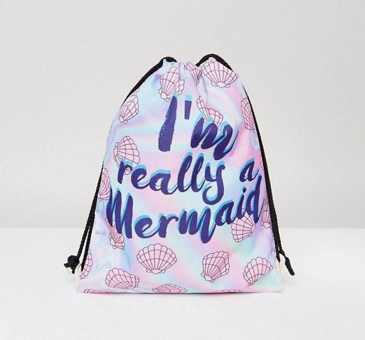 7X I'm Really A Mermaid Drawstring Backpack