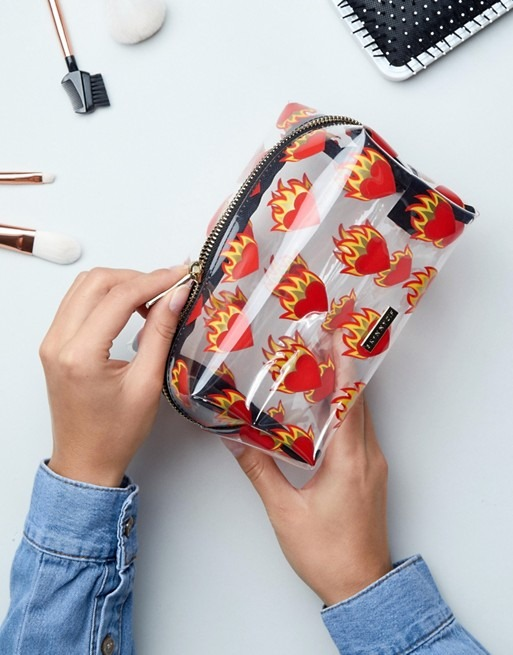 Skinnydip Flame Heart Make Up Bag