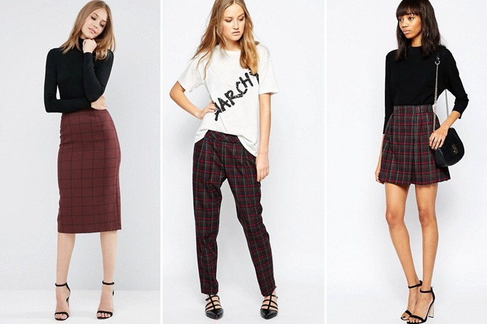 ASOS Tailored Pencil Skirt in Grid Check/ French Connection Soho Check Trouser/ French Connection Soho Check Pleated Skirt (image credi: asos.com)