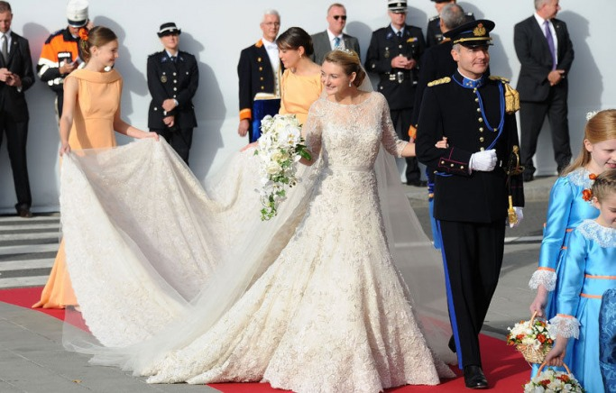 Famous Brides in Elie Saab Wedding Dresses -Princess Stéphanie of Luxembourg
