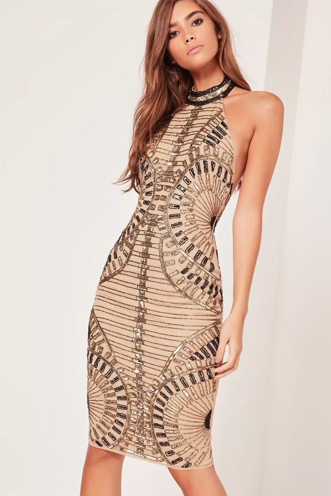 Missguided - Premium Halterneck Sequin Embellished Midi Dress Gold