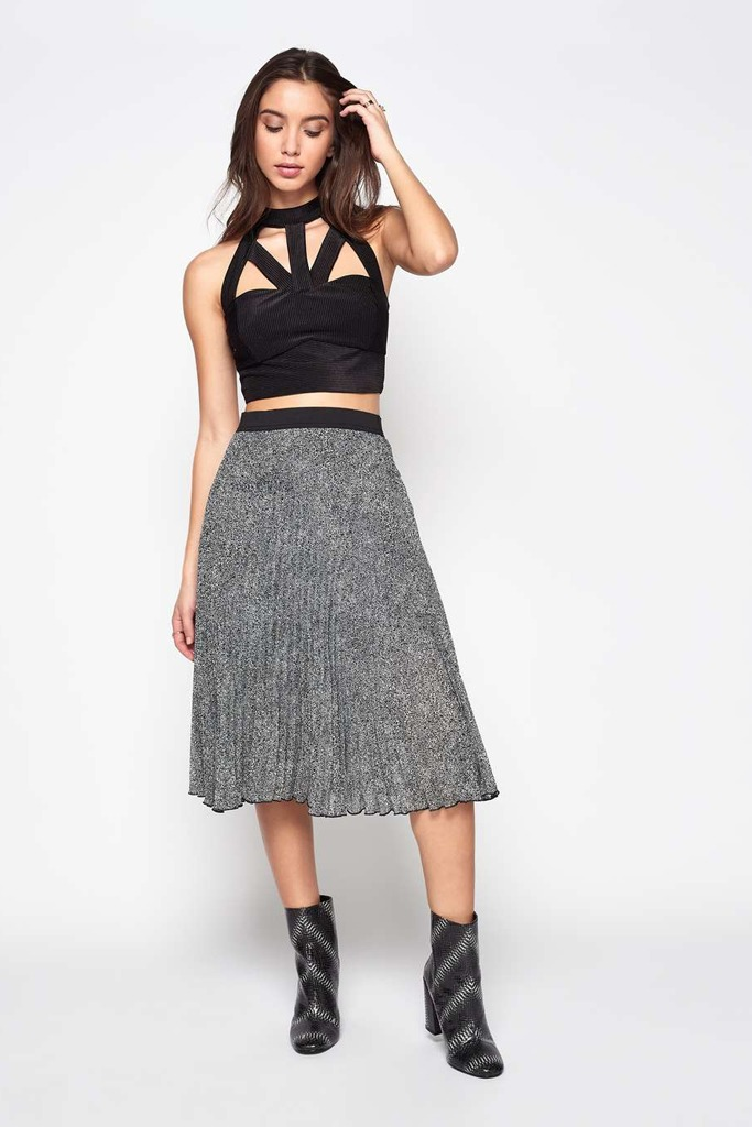 Miss Selfridge - Black Animal Print Pleated Midi Skirt