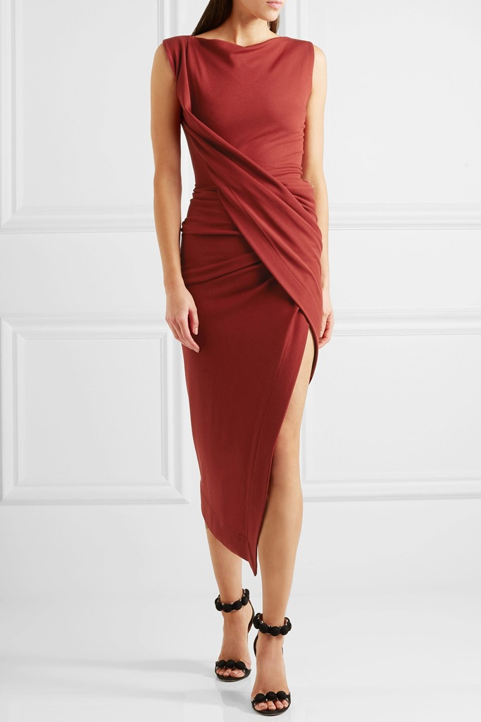 Vivienne Westwood Anglomania - Vian Draped Asymmetric Stretch-Jersey Midi Dress