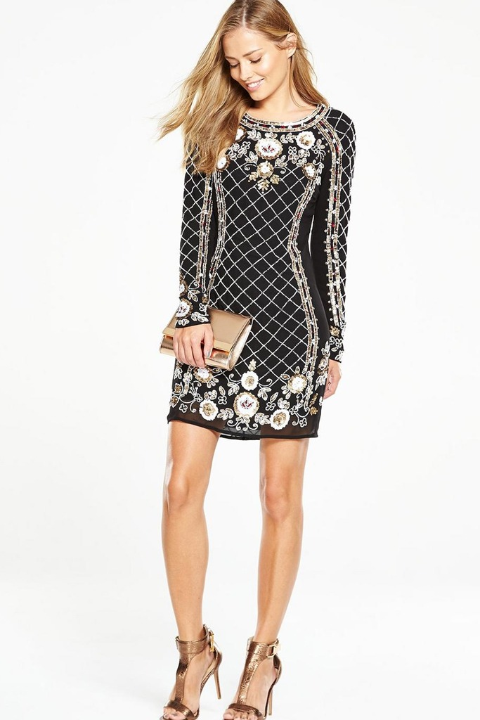 V by Very - Embellished Criss Cross Floral Dress