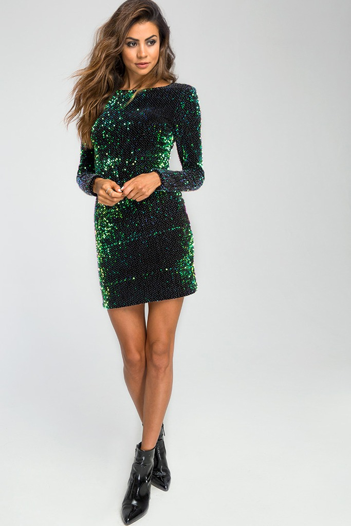 Motel Deluxe - Gabby Sequin Plunge Back Dress