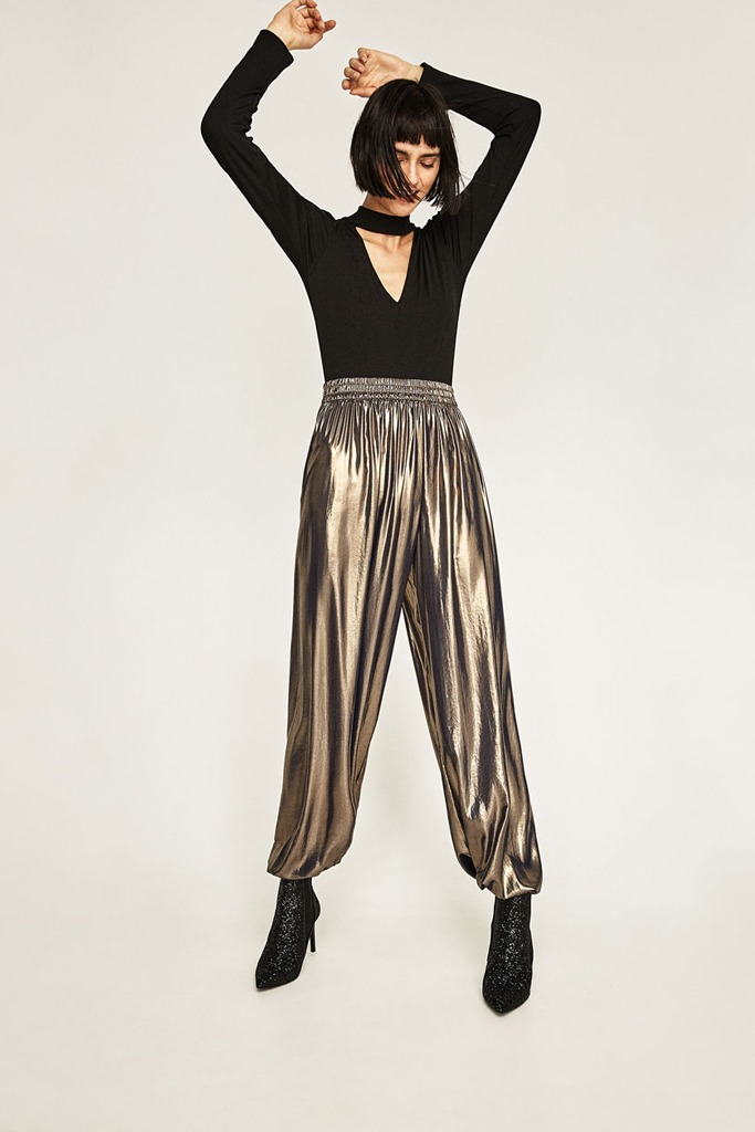 Zara - Metallic Flowing Trousers