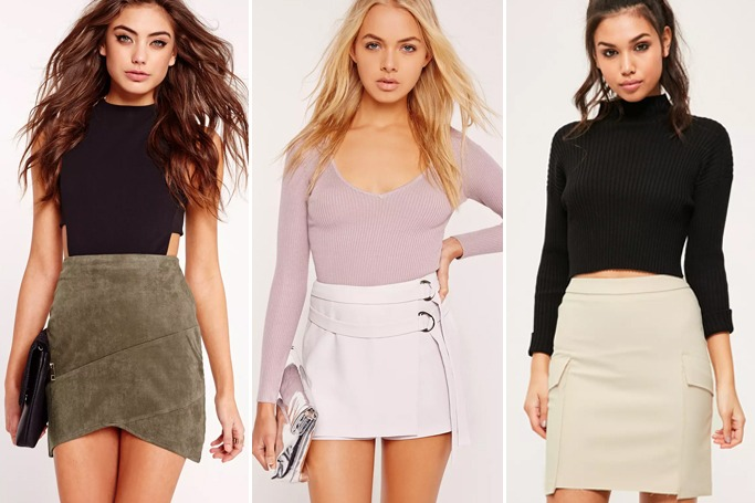 Missguided faux suede wrap mini skirt khaki/double tie skort shorts grey/nude frayed pocket mini skirt (image credit: missguided.com)