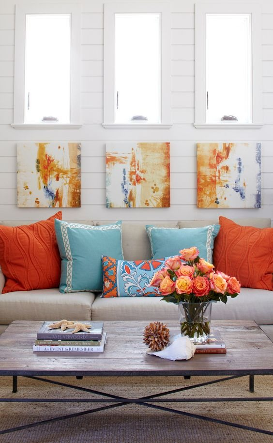 Powder Blue and Tangerine
