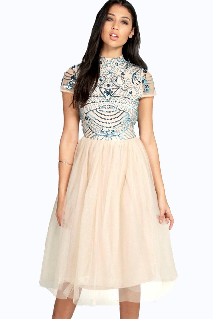 Boohoo Boutique - Boutique Ely Embellished Top Tutu Skirt Skater Dress
