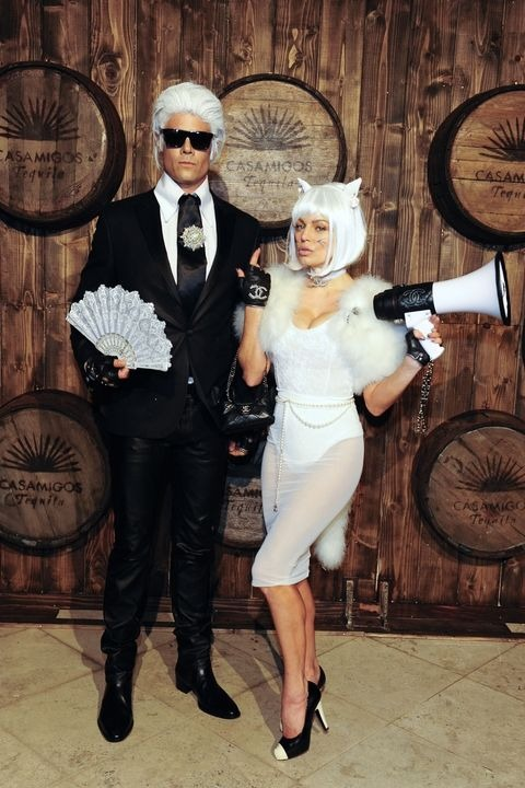 Karl Lagerfeld and Choupette halloween costume