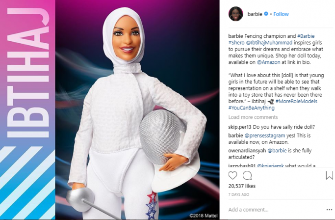 Ibtihaj Muhammad Hijab Wearing Barbie Doll