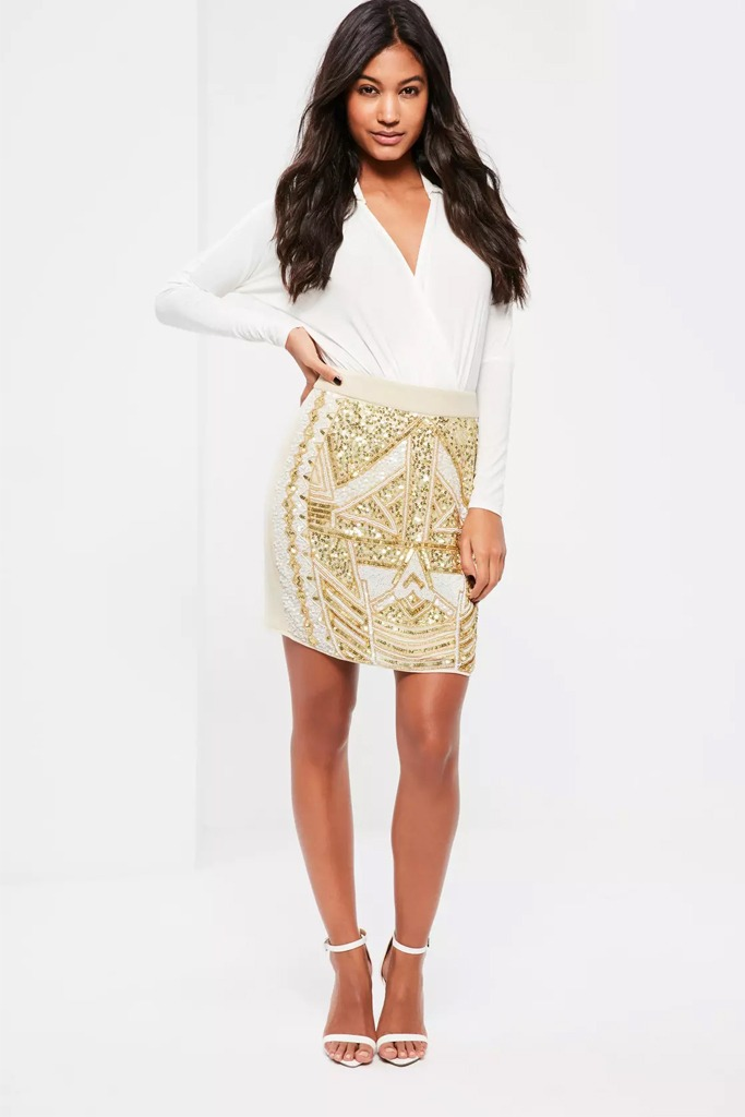 Missguided - White Embellished Sequin and Pearl Mini Skirt