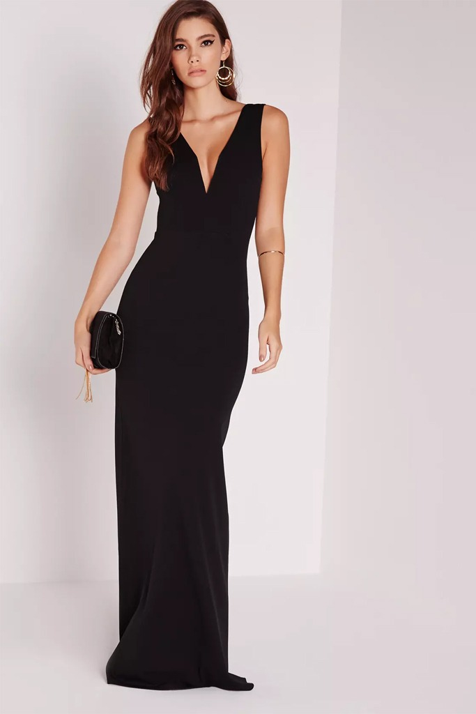 Missguided - V Plunge Maxi Dress Black