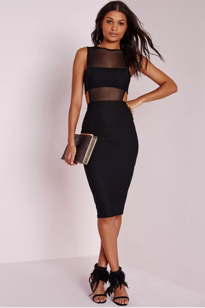 Missguided - Crepe Sleeveless Cut Out Midi Dress Black