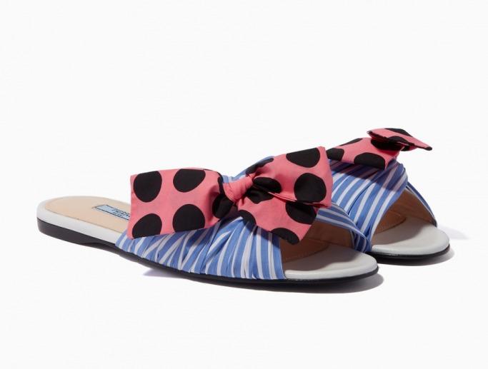 Prada Blue Striped Bow Slippers