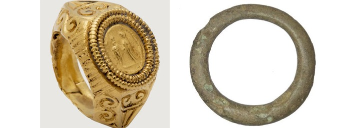 A sample of gold and iron Roman rings