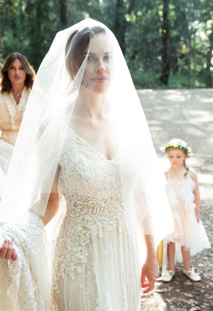 Hilary Swank Wears Elie Saab Couture Bridal Gown Ewmoda