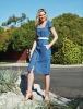 Dorothy Perkins Blue Button Front Square Neck Shift Dress