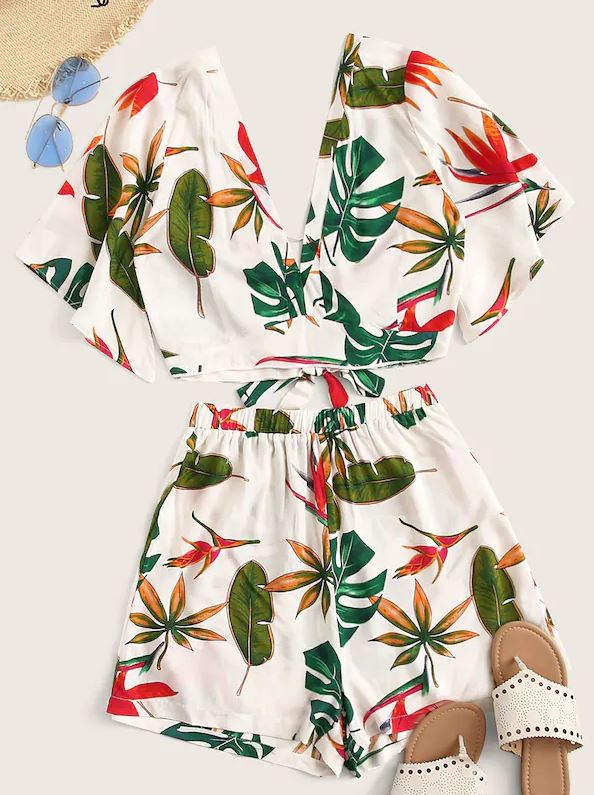 SHEIN tropical print double V neck top and shorts set