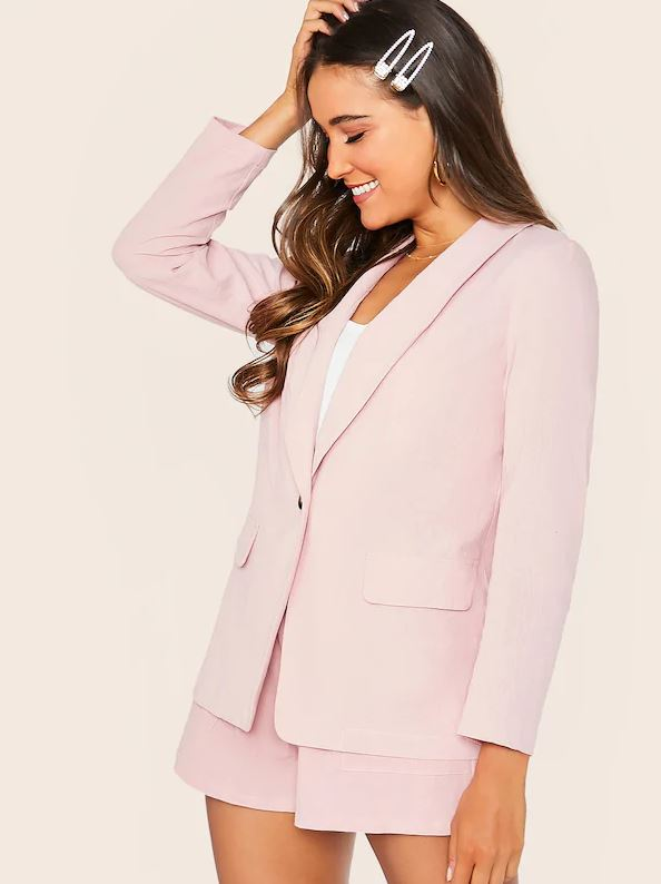 SHEIN shawl collar button fly blazer & paperbag waist shorts set