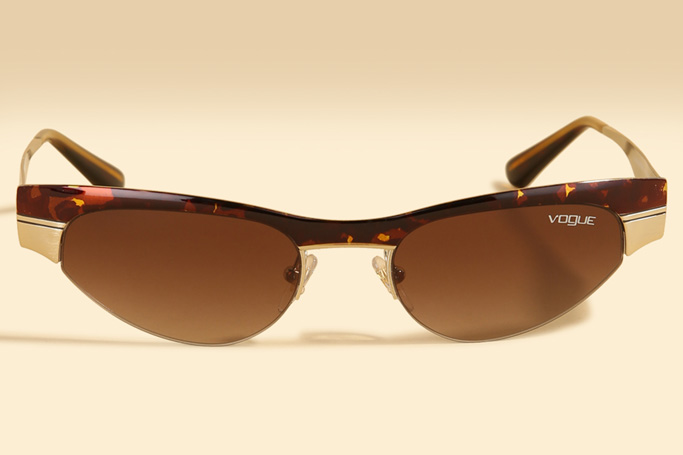 Brown and Gold Gigi Hadid Follow The Trend In Vogue Sunglasses