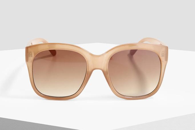 MANGO Beige Square Frame Sunglasses