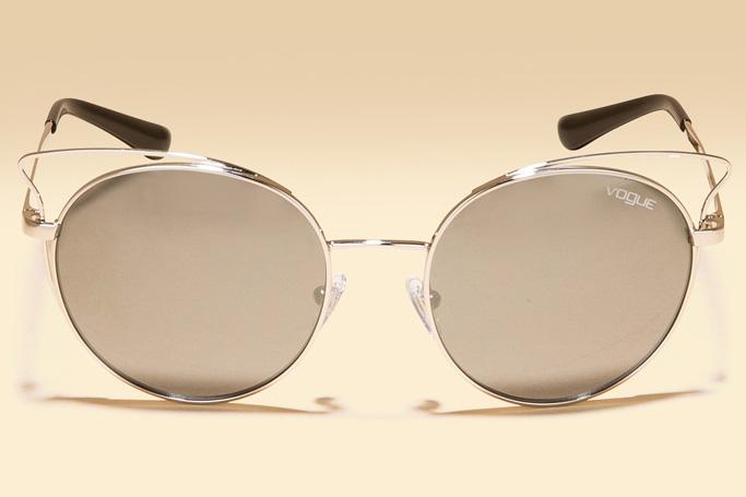 Vogue Eyewear Silver Mirrored Round Sunglasses