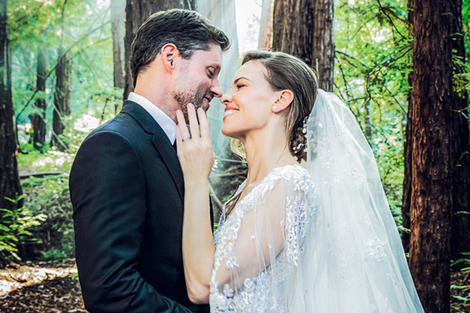Hilary Swank Wears Elie Saab Couture Bridal Gown